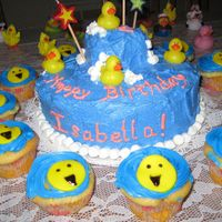 Rubber Ducky First Birthday  Still learning about cakes & all things making. This was my 3rd requested cake, for a little girls first birthday (the same one who the...