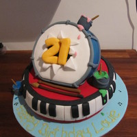 Music & Art Cake For 21St Brithday this cake was for someone 21st birthday who played the piano, was also in a band and who was also an artist so i incorporated the two...