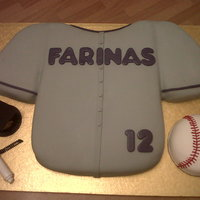 Baseball Jersey Graduation Cake Everything is cake and fondant, except the grad hat. :)