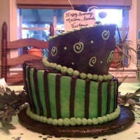 Topsy Turvy this is my 2nd attempt at topsy turvy.. my daughter didnt want fondant.. so i used buttercream. she wanted black and green.. it kinda looks...