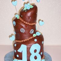 18Th Birthday Cake This is my 2nd attempt at a topsy turvy cake. I am ok with the end result result but not where i want to be yet. I used choc rolled...