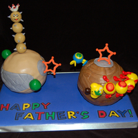 Super Mario Galaxy Father's Day When I asked my husband what kind of cake he wanted for Father's Day, he said Pokey and Wiggler from Super Mario Galaxy (not Mario or...