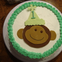 1St Brithday - Monkey  1st Birthday - the little boy I made this cake for, had the same monkey on his 1st birthday outfit. Marble cake with buttercream; monkey of...