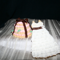 "Sugar Cookies dress (fondant) & ""wedding cake tier"" (royal icing)"
