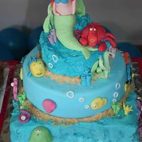 Mermaid Ariel Cake This is my daughters 4th birthday cake. We had a beach party and she loves Ariel so we made as many water themed characters as we could.