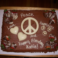 Peace Cake - 7Th Birthday Katie wanted chocolate on chocolate and I didn't want to add a bunch of colors on the chocolate so I used white chocolate to make...