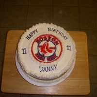 Red Sox Cake Logo was made using candy melts.