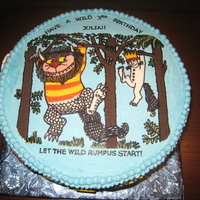 Where The Wild Things Are Buttercream with buttercream transfer design. Wild Things on side of cake are also buttercream transfers - crossed my fingers that they...