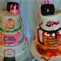 The Princess And The Pirate A cake I made for one of my favorite customers. She was having a princess and pirate party for her son and daughter's birthday. She...