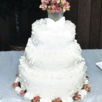 Fondant Rosettes Wedding Cake My 1st cake with fondant. I made this cake for my brothers wedding.
