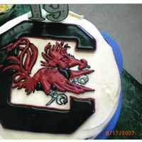Carolina Gamecock 1st time i used color flow icing. This is a chocolate icecream cake.