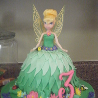 Tinker Bell   This was inspired by a cake I saw on Cake Central. Chocolate cake covered with fondant.