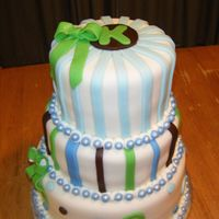 Baby Monogram Shower Cake MM fondant with white chocolate buttercream icing over yellow cake top and bottom, middle cake is fudge chocolate. I had a lot of fun...