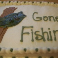 Gone Fishin' Made for a retiree. Fish is made of fondant and is supposed to be a mounted bass.