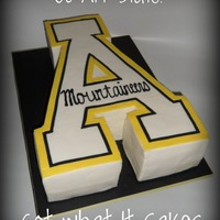Appalachian Mountaineers A   Have done this cake a few times :) Made my own A template out of cardboard and voila!