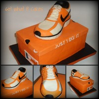 Just 'i Do' It!  I did this groom's cake for a guy who loves to run. This is a replica of his exact shoe, a Nike Free 7.0. The box is carrot cake...