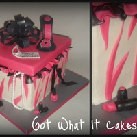 Girly Cake All things girly :) Gumpaste shoe and necklace, fondant lipstick, nail polish. All spilling out of a gift box :)