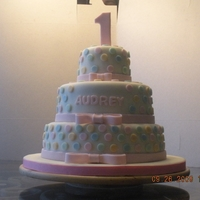 Pastel Polka Dots This is my second fondant cake. The mom wanted a pastel, polka dot theme and then gave me freedom to determine the design. It's a...