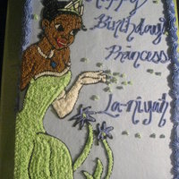 The Princess And The Frog...again!! My Millionth time preparing Princess Tiana. Disney needs to give me a cut (smile). All Buttercream Icing. TFL!!