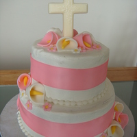 Baptism Cake Cross made from candy melts. Flowers fondant.