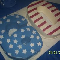 Patriotic 60Th Vanilla Buttercream with fondant stars and stripes