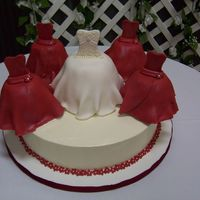 Bridal Party Dress Cake This is a reproduction of a photo I was given by a bridesmaid for a shower. Bridal party made of solid marble cake covered in red / white...