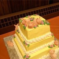 Little Piggies Cake Cake for a retirement party; the lady who was retiring loves and collects pigs. I was really pleased with how it came out. Pigs are 50/50...