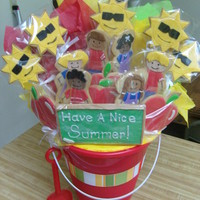 End Of School Cookie Bouquet I made this bouquet for my nephew's last day of school party. His mom wanted something school related, as well as summer related.