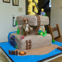 Indiana Jones Legos Cake I made this for my nephew. He's hoping to get Lego's Indiana Jones 2 video game for his birthday. I play this game with my son...