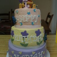 Niece's Winnie The Pooh Cake This was my first three tier cake, and I had a heck of a lot of fun working on it! Did run into one big problem - ended up leaning to the...