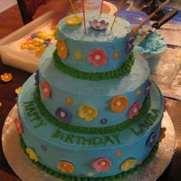 Laura Lyn's Bday  Found this in a Wilton book....decided against fondant....had it all smooth (like the bottom layer) and lost the middle in the transfer!...