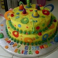 Funky Cake! For my 9 year old neice who did NOT want a 'girly' cake!All buttercream.