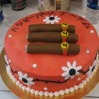 Going To Japan And Loves Cigars Made this for my friend Jim who is going to Japan, wrote 'Happy Birthday Jim' in Japanese and put some rolled fondant cigars...he...