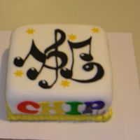 Musical B-Day   I made this cake for a friend, he is the worship leader of our Church. This is my 3rd fondant cake.