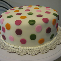 Polke Dots I made this cake as a trial, in a couple weeks I have to make a bigger one, like this.Two layers of yellow cake, one layer of white cake...