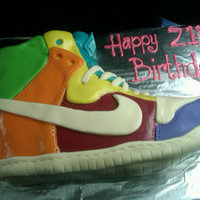 Shoe Cake White Almond Sponge Cake carved and iced with buttercremeCovered with MMF