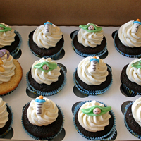 Baby Shower Cupcakes Pure vanilla and black forest cupcakes both with Vanilla Bean Buttercream meringue