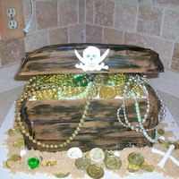 Pirate Treasure Chest I made this cake for a halloween party. My first attempt at making a treasure chest. I was super happy. I used rice chrispy treats for the...