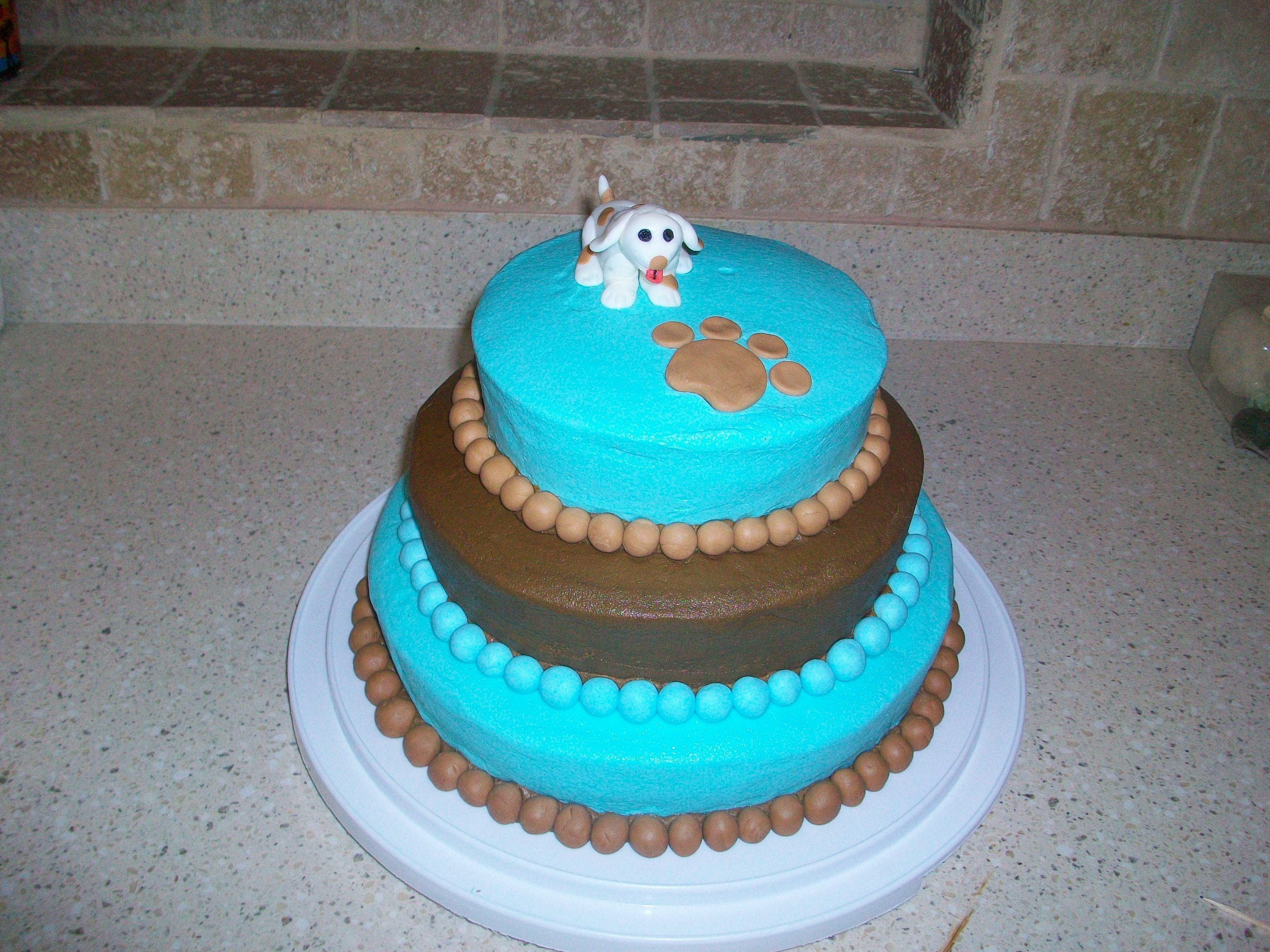 Puppy Theme For Baby Shower This was my first attempt at stacking a cake and making a figure out of fondant! :)