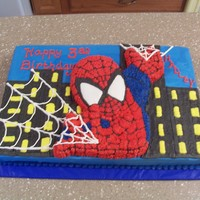 Spiderman This is a half sheet with the spiderman character pan done all in buttercream.