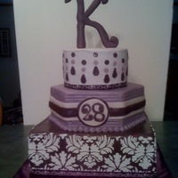 Damask Birthday I did this cake for a cousin and all I was told was that she liked purple...so I had to give the damask stencil another try and l just love...