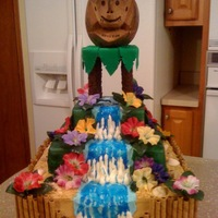 Hawaiian Luau 40Th Birthday I was asked to make a hawaiian cake incorporating the coconut monkey. I was inspired by several different cakes on CC and combined several...