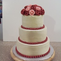 "My Second Wedding Cake This is a 6"", 8"", 10"" round. Buttercream with fondant ribbon roses."