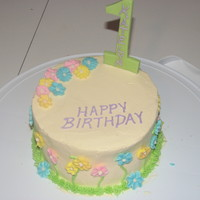 Birthday Cake For Daughter  6 inch 2 layer white cake with raspberry filling and SMBC. I am very proud of this cake: was for my daughter's first bday and I am...