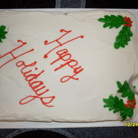 Christmas White cake with buttercream frosting and decorations