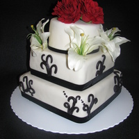 5Th Anniversary Black and white five year anniversary cake