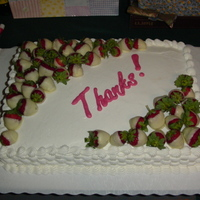 "Teacher Appreciation Luncheon Cake White cake, filled with homemade strawberry jam, buttercream icing, white chocolate dipped strawberries and tinted white chocolate ""..."