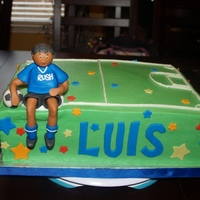 Soccer Boy Birthday  Sheet cake for a great boy who loves to play soccer, BC w/fondant boy, ball, name and stars. Darned 96 degree weather - buttercream makes...