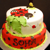 Ladybug Themed Birthday Cake