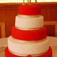Red And Gold Wedding Cake My first big wedding cake :)As usual everything edible
